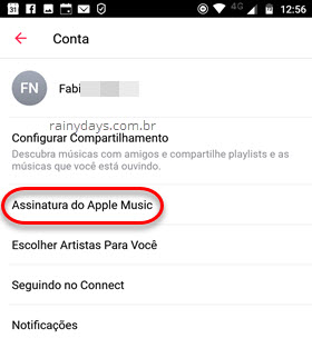 Conta Assinatura do Apple Music Android