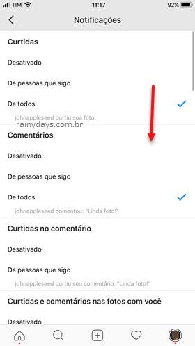Desativar algumas notificações Instagram