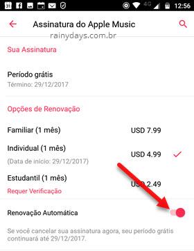 Desativar renovação automática Apple Music Android