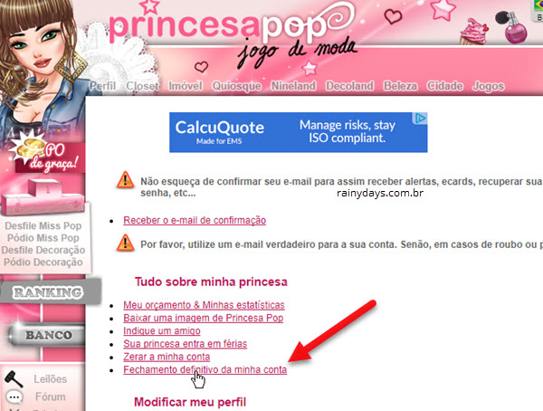 Como excluir conta do jogo Princesa Pop