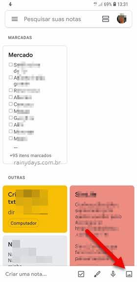 ícone adicionar imagem Google Keep Android