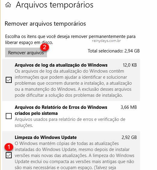 Limpeza do Windows Update nos temporários para liberar espaço no HD após atualização do Windows 10