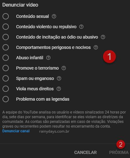 Como denunciar vídeos e comentários no YouTube