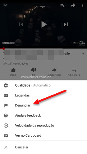 denunciar video no app YouTube celular