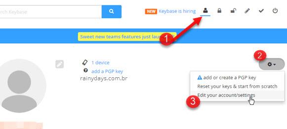 engrenagem Editar configurações de conta Keybase
