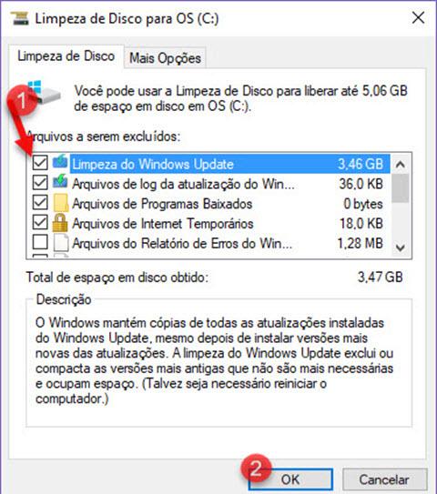 Liberar espaço no HD apagando atualização do Windows