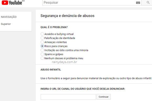 segurança e denúncia de abusos no YouTube