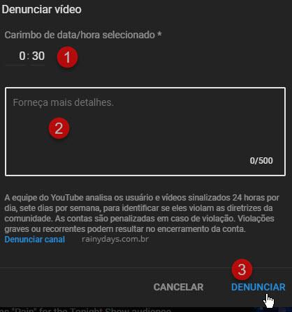 Selecionar tempo da violação em vídeo YouTube detalhes