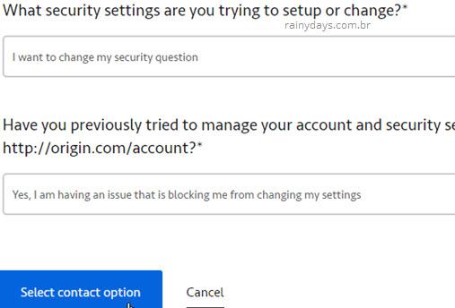 Trocar resposta de segurança pelo suporte inglês Origin