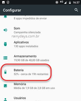 bateria configurações Android