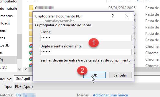 Como colocar senha em arquivo PDF no Word