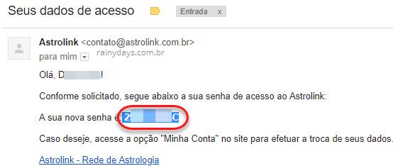 Email Astrolink com senha