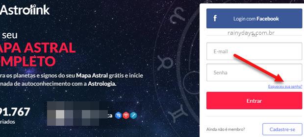 esqueceu sua senha Astrolink
