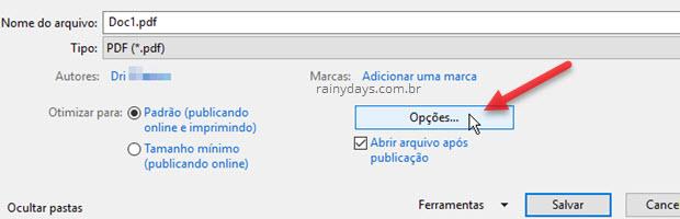 Opções salvamento arquivo PDF Word