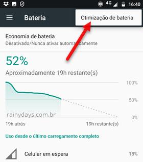 Otimização de bateria Android
