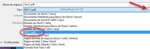 Selecionar tipo de arquivo PDF Word