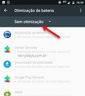 Sem otimização de bateria Android