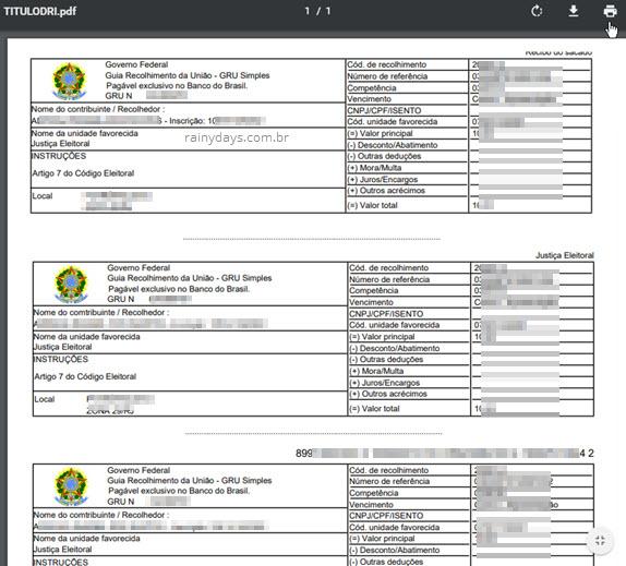 Boleto GRU multa eleitoral para pagamento