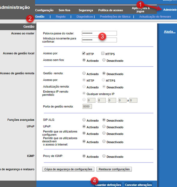 modificar senha de login interface web Linksys X1000