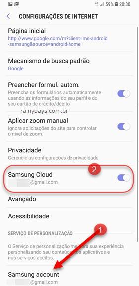 configurações Internet Samsung Cloud e Samsung Account