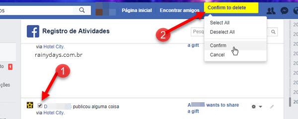 Confirmar exclusão de posts Facebook Chrome Social Book
