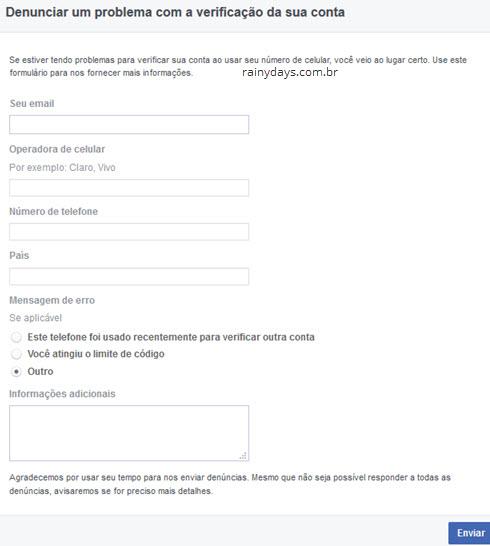Denunciar um problema com a verificação da sua conta Facebook