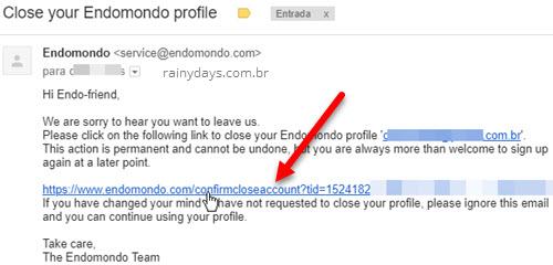 Encerrar conta do app Endomondo UnderArmour