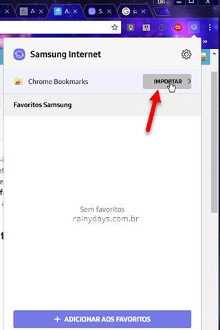 Importar Chrome Boookmarks Samsung Internet