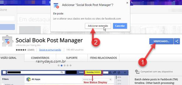Instalar extensão Social Book Post Manager Chrome