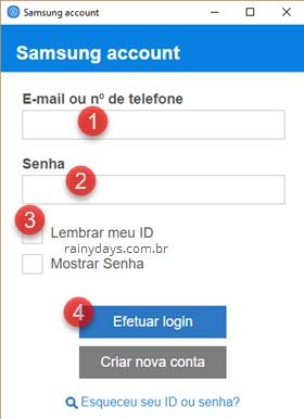 login conta Samsung extensão Chrome
