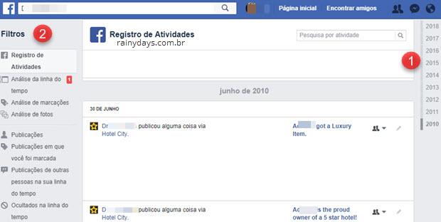 Registro de atividades Facebook