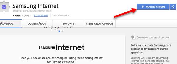 Samsung Internet usar no Chrome