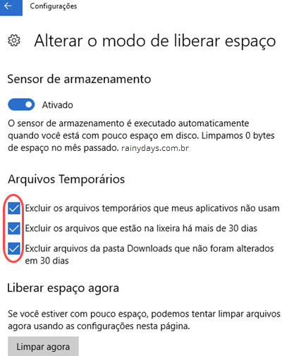 Usar sensor de armazenamento do Windows