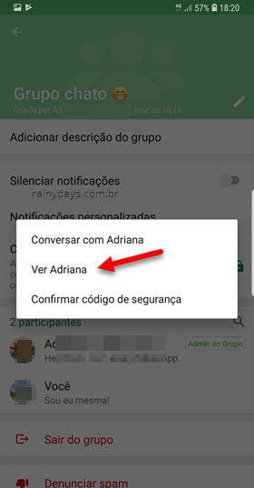 Ver perfil da pessoa administrador WhatsAPp