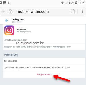 cancelar acesso de app no Twitter pelo celular