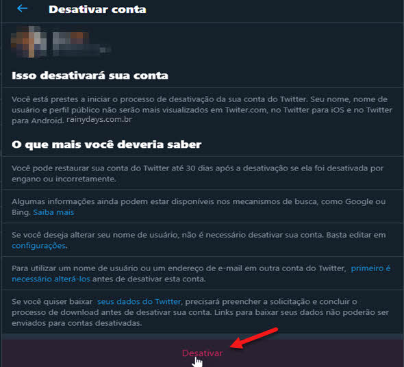 Como excluir conta do Twitter permanente