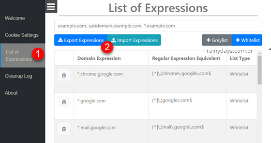 Configurações Cookie AutoDelete exportar importar lista de sites