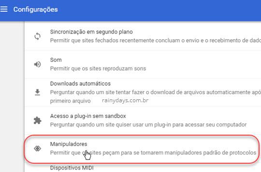 Configurações Manipuladores Chrome
