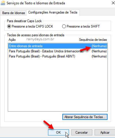"""Janela """"serviços de texto e idiomas de entrada"""" do Windows, desativar atalho que alterna idioma e layout"""