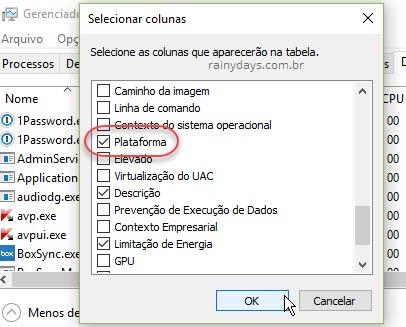 Selecionar colunas plataforma Gerenciador de Tarefas Windows