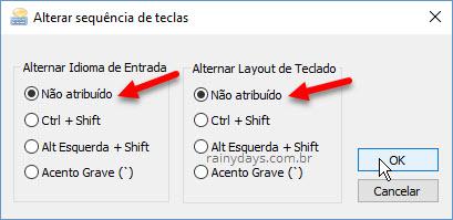 Teclado muda configuração sozinho no Windows, desativando atalho que alterna entre layout