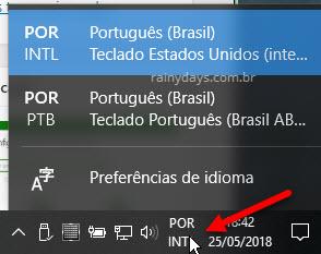 ícone barra de tarefas para Trocar ente layouts de teclado e idioma Windows