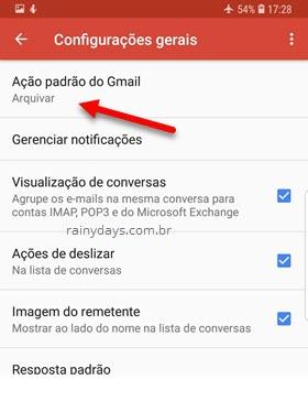 Ação padrão do app Gmail no Android