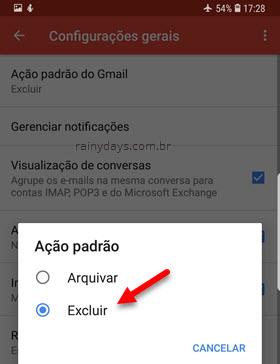 Ação padrão excluir aplicativos Gmail ANdroid