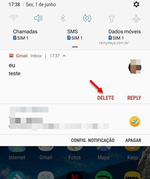 Apagar email do Gmail na notificação do Android, botão Delete