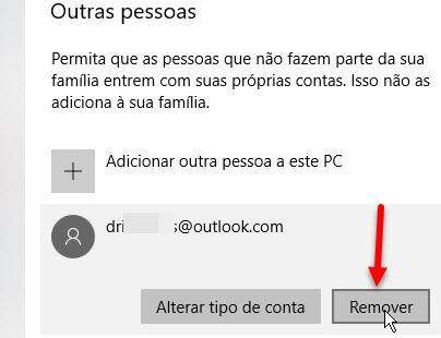 Como adicionar e excluir conta de usuário no Windows, clicar no email e depois em remover