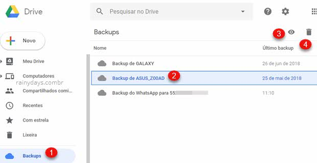 Como apagar backup de celular Android antigo, clicar no ícone da lixeira