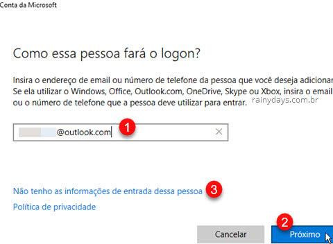 Como essa pessoa fara login entrada conta Windows
