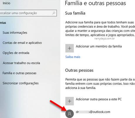 Conta de outras pessoas adicionadas no Windows
