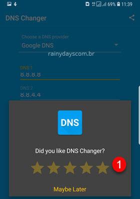 Dar notas para app DNS Changer para poder usar